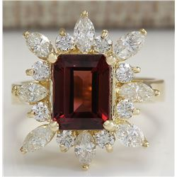 4.43 CTW Natural Red Tourmaline And Diamond Ring 18K Solid Yellow Gold