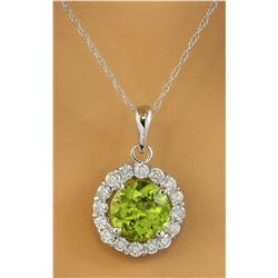 1.82 CTW Peridot 18K White Gold Diamond Necklace