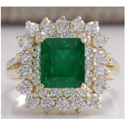 2.87 CTW Natural Emerald And Diamond Ring 14K Solid Yellow Gold
