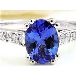 1.96 CTW Natural Tanzanite 18K Solid White Gold Diamond Ring