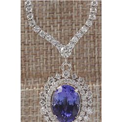 10.98 CTW Natural Tanzanite And Diamond Necklace In 14K White Gold