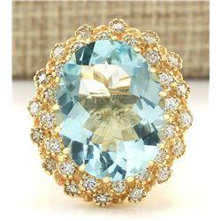 10.28 CTW Natural Aquamarine And Diamond Ring In 18K Yellow Gold