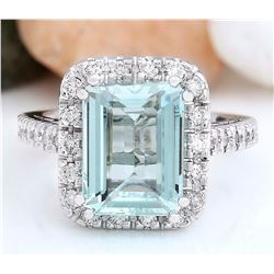 4.68 CTW Natural Aquamarine 18K Solid White Gold Diamond Ring