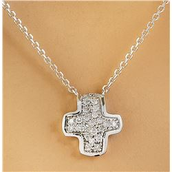 0.18 CTW Diamond 14K White Gold Cross Pendant Necklace