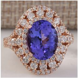 5.72 CTW Natural Blue Tanzanite And Diamond Ring 18K Solid Rose Gold