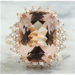 8.25 CTW Morganite 18K Rose Gold Diamond Ring