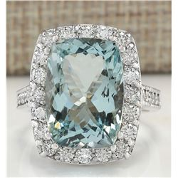 8.82 CTW Natural Aquamarine And Diamond Ring In 18K White Gold