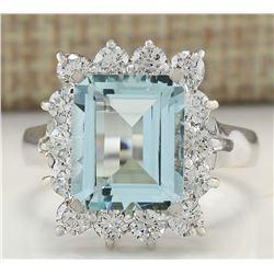 5.06 CTW Natural Aquamarine And Diamond Ring In 14k White Gold