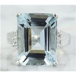 9.07 CTW Aquamarine 18K White Gold diamond ring