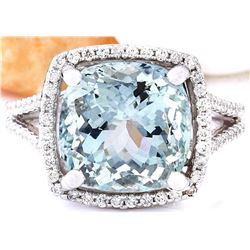 6.75 CTW Natural Aquamarine 18K Solid White Gold Diamond Ring