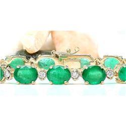 27.98 CTW Natural Emerald 18K Solid Yellow Gold Diamond Bracelet