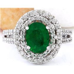 1.73 CTW Natural Emerald 18K Solid White Gold Diamond Ring