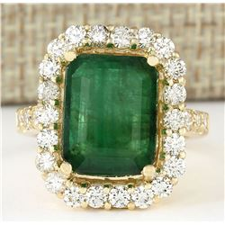 7.91 CTW Natural Emerald And Diamond Ring In 14k Yellow Gold