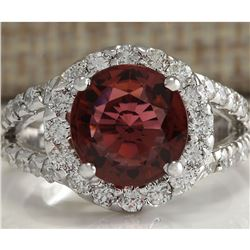 4.35 CTW Natural Pink Tourmaline And Diamond Ring 14K Solid White Gold