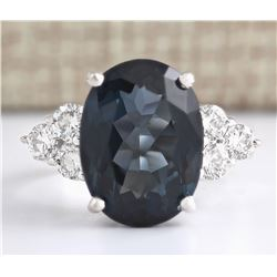 12.13 CTW Natural London Blue Topaz And Diamond Ring In14k Solid White Gold