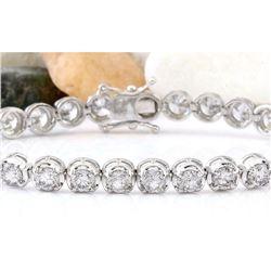 10.96 CTW Natural Diamond 14K Solid White Gold Bracelet