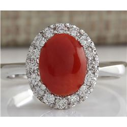 1.60 CTW Natural Red Coral And Diamond Ring 18K Solid White Gold