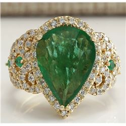 8.00 CTW Natural Emerald And Diamond Ring 18K Solid Yellow Gold