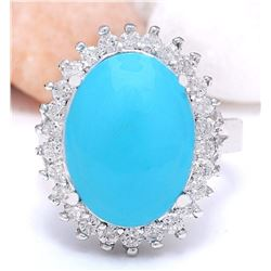 9.80 CTW Natural Turquoise 18K Solid White Gold Diamond Ring