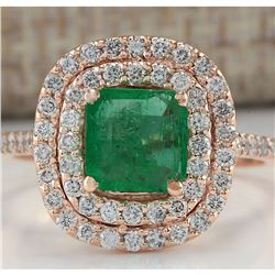 2.02 CTW Natural Colombian Emerald And Diamond Ring In 18K Rose Gold