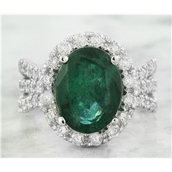 6.86 CTW Emerald 18K White Gold Diamond Ring