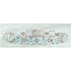 25.75 CTW Aquamarine 14K White Gold Diamond Bracelet