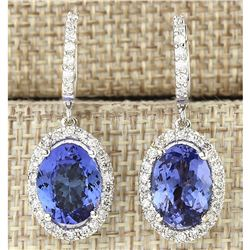 9.36 CTW Natural Tanzanite And Diamond Earrings 18K Solid White Gold