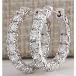 3.44CTW Natural Diamond Hoop Earrings 14K Solid White Gold