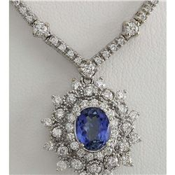 6.00 CTW Natural Tanzanite And Diamond Necklace In 18K White Gold