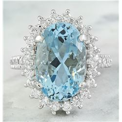 8.25 CTW Aquamarine 18K White Gold Diamond Ring