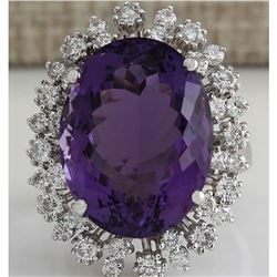 15.83 CTW Natural Amethyst And Diamond Ring In 14K Solid White Gold
