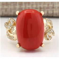 12.00 CTW Natural Coral And Diamond Ring In 14k Yellow Gold