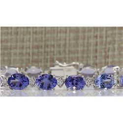 23.35CTW Natural Tanzanite And Diamond Bracelet In 14K Solid White Gold