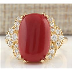 7.50CTW Natural Coral And Diamond Ring In 18K Yellow Gold