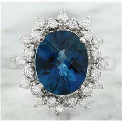 4.35 CTW Topaz 18K White Gold Diamond Ring