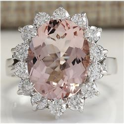 5.82 CTW Natural Peach Morganite And Diamond Ring In 18K Solid White Gold