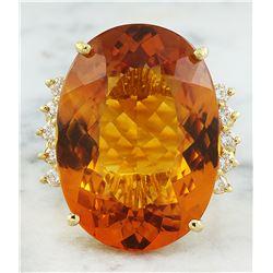 32.40 CTW Citrine 18K Yellow Gold Diamond Ring