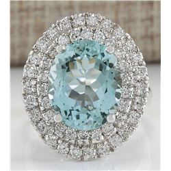 7.44 CTW Natural Blue Aquamarine Diamond Ring 14K Solid White Gold