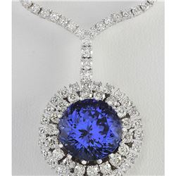 22.09 CTW Natural Tanzanite And Diamond Necklace In 14k White Gold