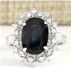 5.08 CTW Natural Blue Sapphire And Diamond Ring 14k Solid White Gold