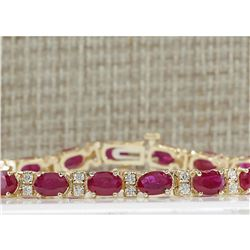 11.01 CTW Natural Ruby And Diamond Bracelet In 14K Yellow Gold
