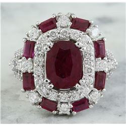 6.10 CTW Ruby 18K White Gold Diamond Ring