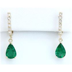 2.80 CTW Natural Emerald 18K Solid Yellow Gold Diamond Earrings