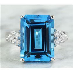 8.25 CTW Topaz 18K White Gold Diamond Ring
