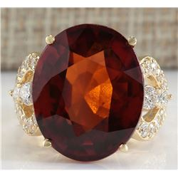 19.58 CTW Natural Hessonite Garnet And Diamond Ring In 14K Yellow Gold
