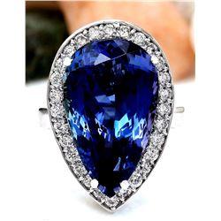 15.18 CTW Natural Tanzanite 18K Solid White Gold Diamond Ring
