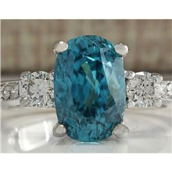 7.65 CTW Natural Blue Zircon And Diamond Ring 18K Solid White Gold
