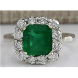 3.15 CTW Natural Colombian Emerald And Diamond Ring In 18K White Gold