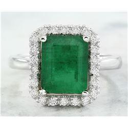 3.55 CTW Emerald 14K White Gold Diamond Ring