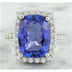8.55 CTW Tanzanite 18K White Gold Diamond Ring